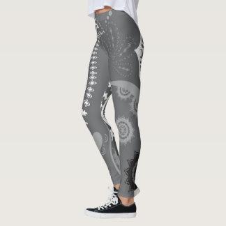 Legging Teste padrão do abstrato da matéria cinzenta