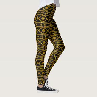 Legging Teste padrão egípcio no preto e no ouro