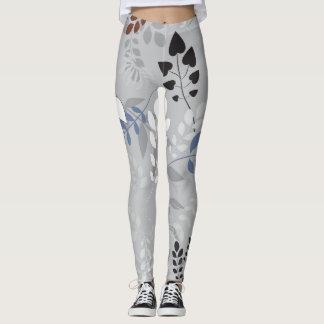 Legging Teste padrão floral cinzento