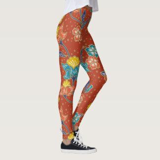 Legging Teste padrão floral indonésio exótico vermelho do