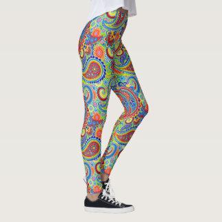Legging Teste padrão floral retro colorido de Paisley