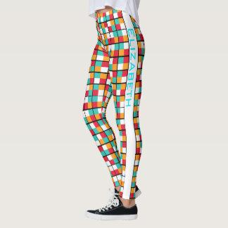 Legging Teste padrão geométrico colorido da permutação do