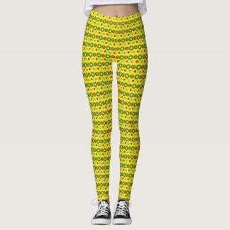 Legging Teste padrão geométrico decorativo amarelo