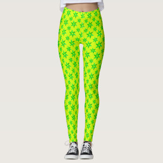 Legging Teste padrão geométrico decorativo amarelo & verde
