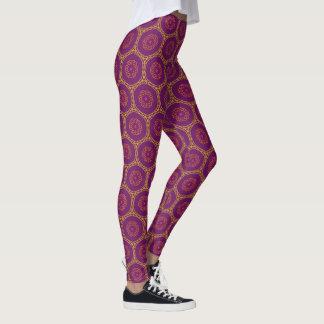 Legging Teste padrão geométrico roxo do redemoinho