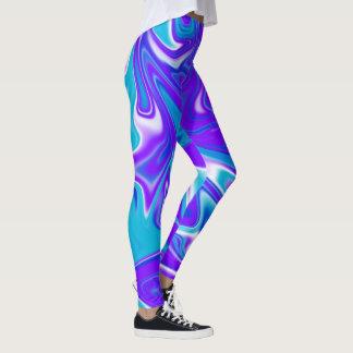 Legging Teste padrão Marbleized de seda azul do abstrato