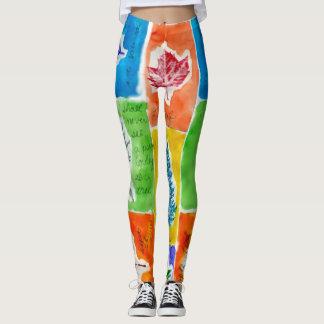 Legging Teste padrão na moda colorido legal da folha da