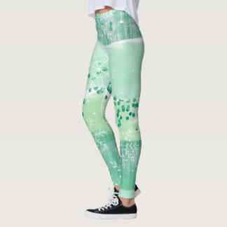 Legging Teste padrão na moda do inverno verde bonito da