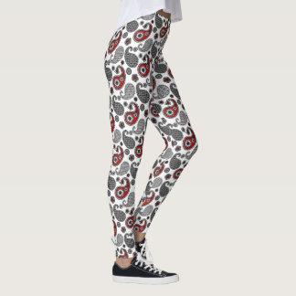Legging Teste padrão, preto, branco e vermelho de Paisley
