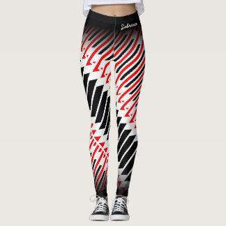 Legging Teste padrão preto branco vermelho abstrato