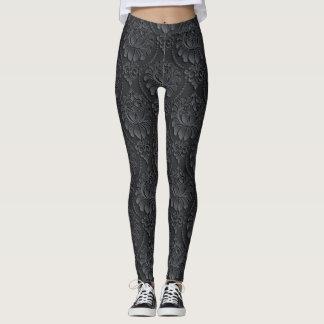 Legging Teste padrão preto do vintage