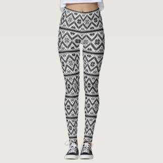 Legging Teste padrão retro de Black&White do design