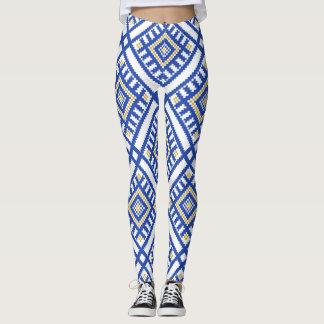 Legging Teste padrão tradicional azul da geometria
