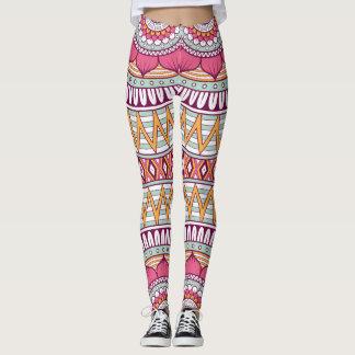 Legging Teste padrão tribal cor-de-rosa floral elegante de