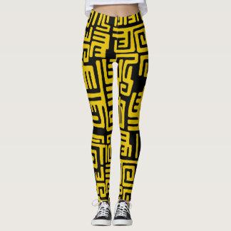 Legging Teste padrão tribal do africano negro amarelo