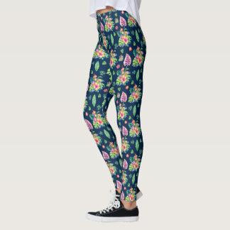 Legging Teste padrão tropical colorido das flores & das