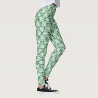 Legging Teste padrão verde afortunado do trevo do Kanji