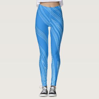 Legging textura metálica azul abstrata