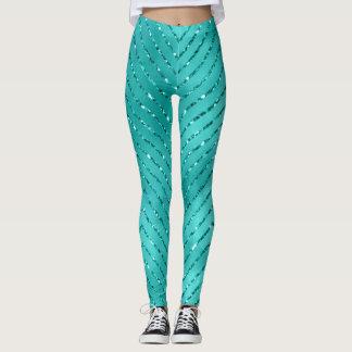 Legging Tiffany Chevron de cristal metálico azul aquático