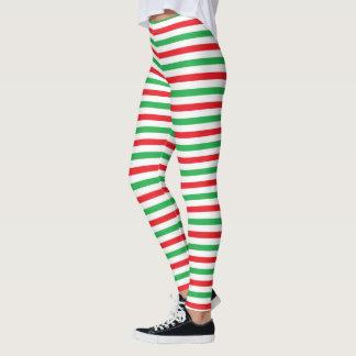 Legging Tiras vermelhas, do branco e do verde