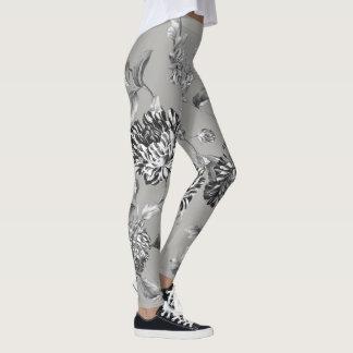 Legging Toile floral botânico moderno cinzento preto &