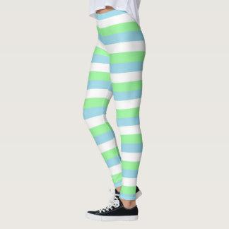 Legging Verde da hortelã, listras azuis e brancas Pastel