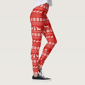 Legging Vermelho do teste padrão da camisola do Natal dos