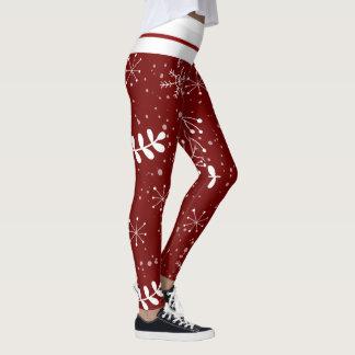 Legging Vermelho e White Christmas bonitos da folha do