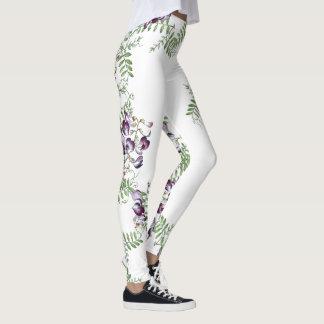 Legging Videira da flor da ervilhaca do vintage por todo o