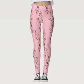Legging videiras do ouro no rosa
