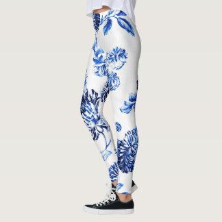 Legging Vintage azul Leonbience floral botânico de Capri