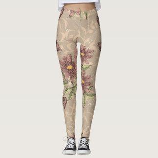 Legging Vintage floral - malva, cinza, lavanda
