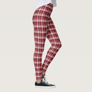 Legging Xadrez de Tartan branca cor-de-rosa vermelha