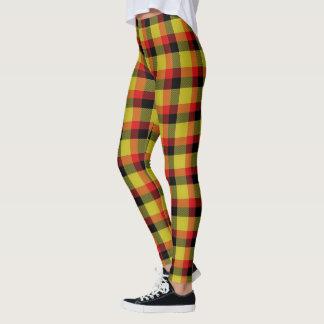 Legging Xadrez vermelha e preta do amarelo escocês da