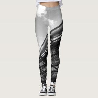 Leggins preto e branco do estilo do punk legging