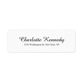 Legível branco do preto elegante da planície do etiqueta endereço de retorno