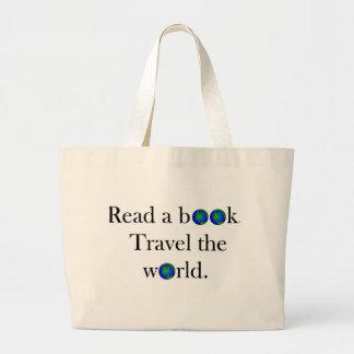 Leia um viagem do livro o mundo bolsa tote grande