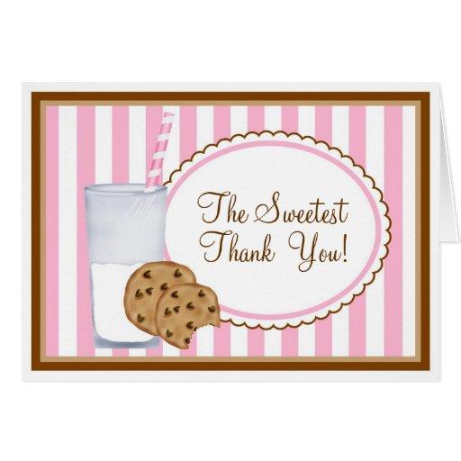 Leite e obrigado dos biscoitos você cartão de nota