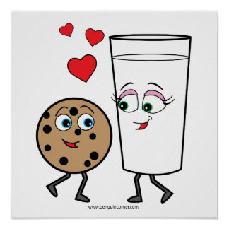 Leite e poster dos biscoitos