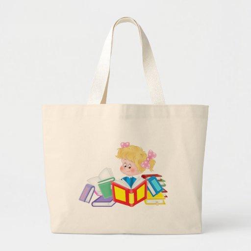 leitura bonito da menina bolsas de lona
