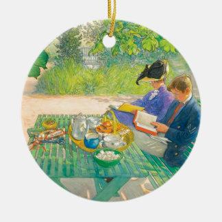 Leitura do feriado por Carl Larsson Ornamento De Cerâmica