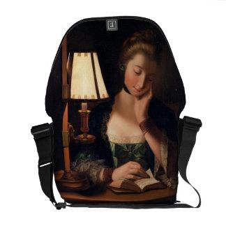 Leitura por uma máscara do Papel-sino, 1766 da mul Bolsas Mensageiro