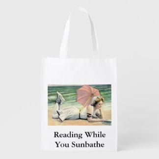 Leitura quando você Sunbathe saco reusável do Sacolas Ecológicas