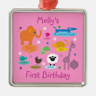 Lembrança bonito do aniversário da menina dos ornamento quadrado cor prata