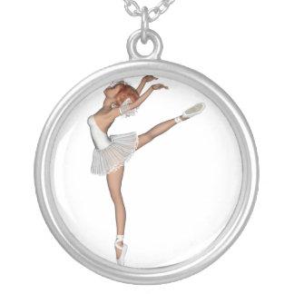 Lembrança branca da bailarina do tutu 3D Colar Banhado A Prata