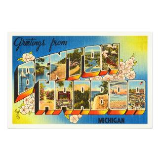 Lembrança das viagens vintage de Michigan MI do Impressão De Foto