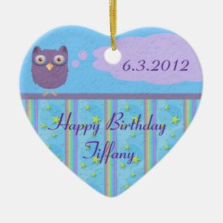 Lembrança do aniversário da estrela da coruja ornamento de cerâmica coração