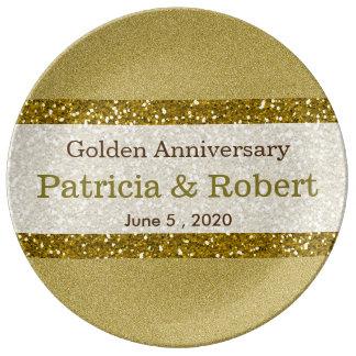 Lembrança do aniversário de casamento do ouro 50th pratos de porcelana