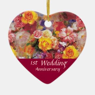 Lembrança do aniversário do jardim de rosas ornamento de cerâmica coração