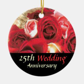 Lembrança do aniversário ornamento de cerâmica redondo